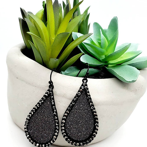 Ultimate Love- Black Drusy lined with Rhinestone