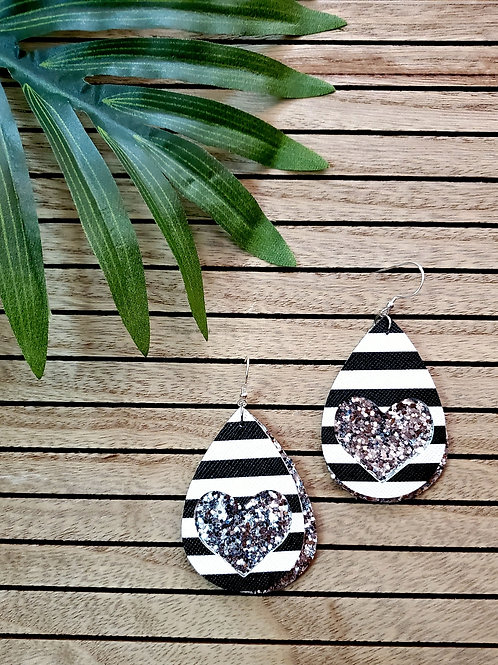 Lux Leather - in Black & White Striped with Silver Glitter