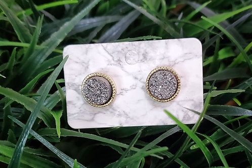 The Everyday Stud- in a Gold Finish with a Dark Grey Drusy Center