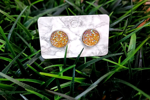The Everyday Stud- Pewter Finish with a Creamsicle Sparkled Center