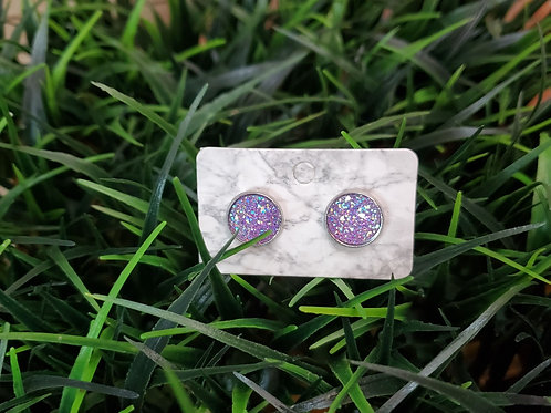 The Everyday Stud- Pewter Finish with a Lavender Sparkled Center