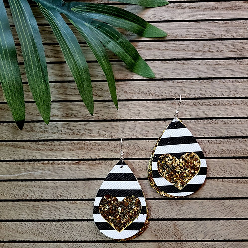 Lux Leather - in Black & White Striped with Gold Glitter