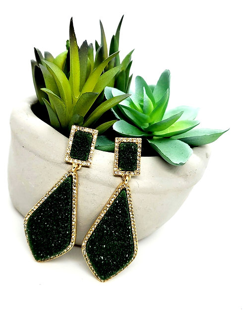 Green Drusy Teardrop