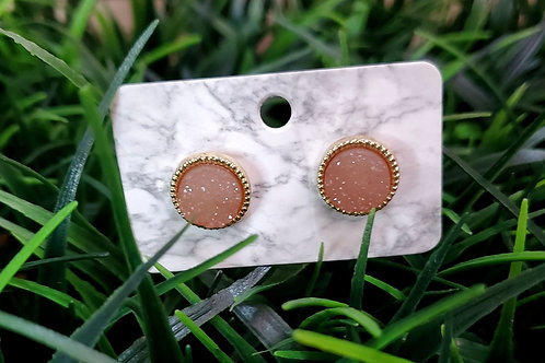 The Everyday Stud- Gold Finish with a Neutral Drusy Center