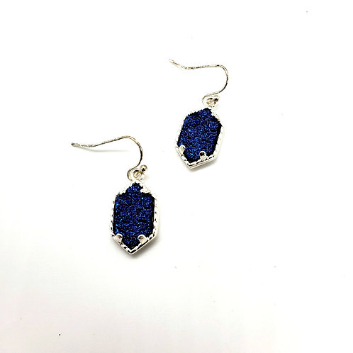 The Princess - in a Delicate Silver Finish with a Cobalt Blue Drusy Center