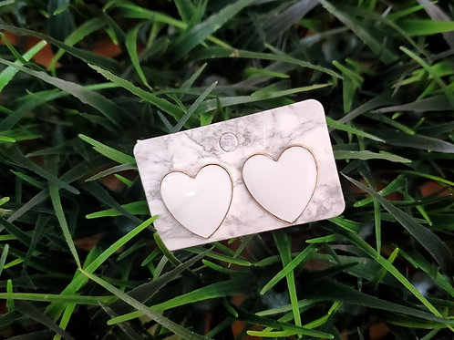 Heart Studs in white