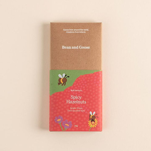 Bean and Goose Bold and Spicy Hazelnuts Dark Chocolate (62%)