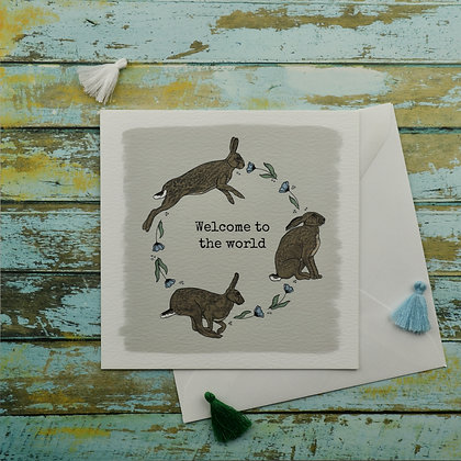 Baby Boy Hares Greetings Card