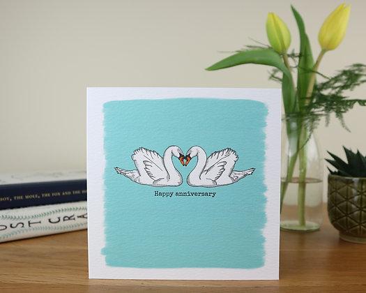 Anniversary Swans Greetings Card