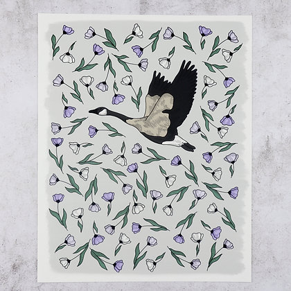 Goose in Lilac Flowers Print