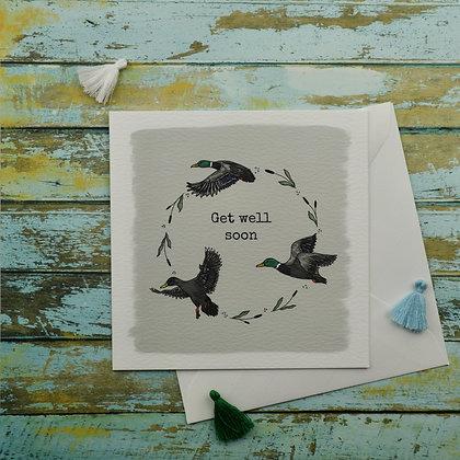 Get Well Soon Ducks Greetings Card