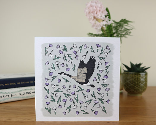 Goose in Lilac Flowers Greetings Card