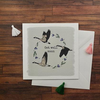 Get Well Soon Geese Greetings Card