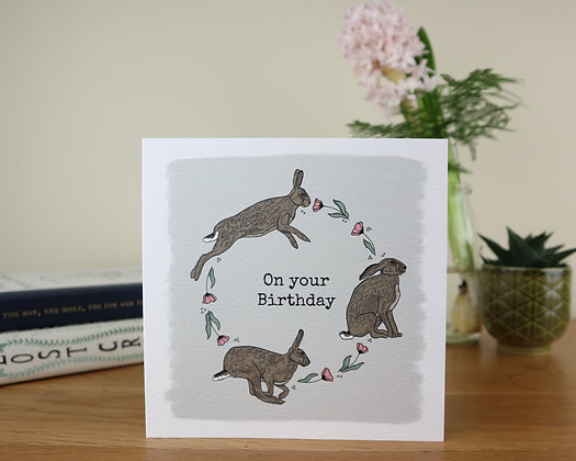 Birthday Hares Greetings Card