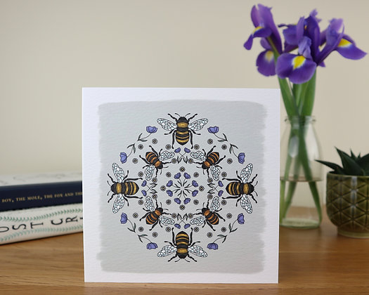 Bee Kaleidoscope Greetings Card
