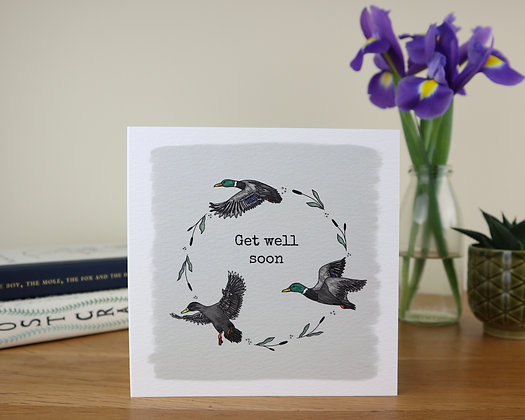 Get Well Soon Ducks Greetings Card