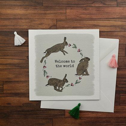 Baby Girl Hares Greetings Card