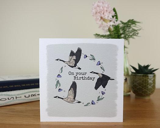 Birthday Geese Greetings Card