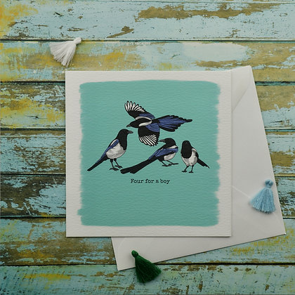 Four Magpies Greetings Card