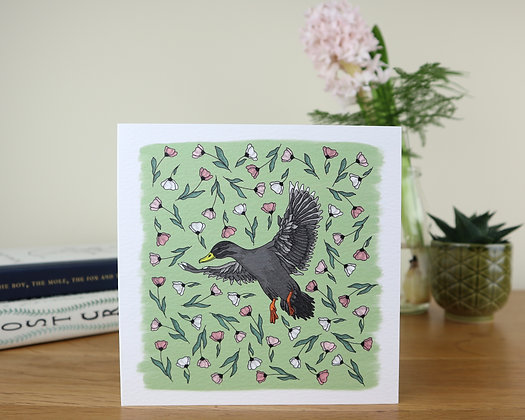 Duck in Blush Flowers Greetings Card