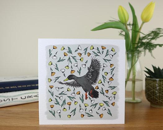 Duck in Golden Flowers Greetings Card