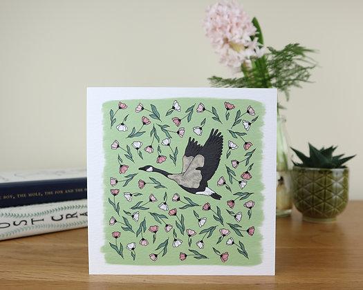 Goose in Blush Flowers Greetings Card