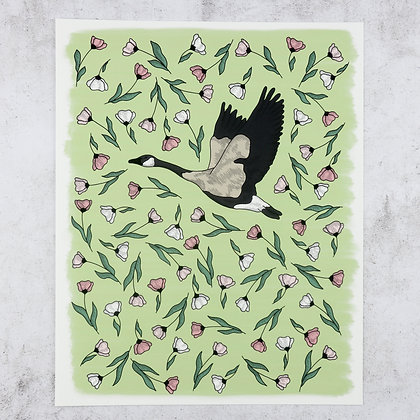 Goose in Blush Flowers Print