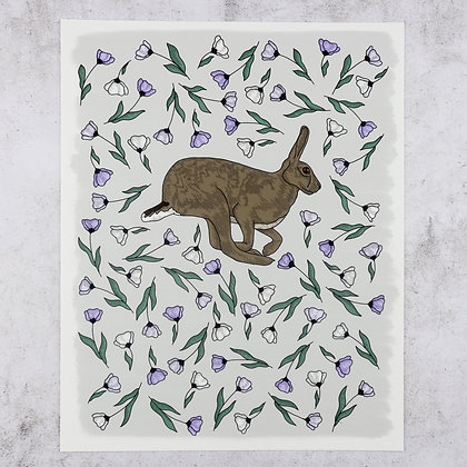 Hare in Lilac Flowers Print