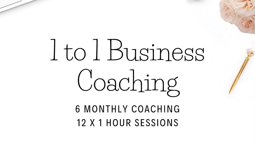 6 Monthly Coaching 12 x 1 Hour Monthly Business Coaching Sessions