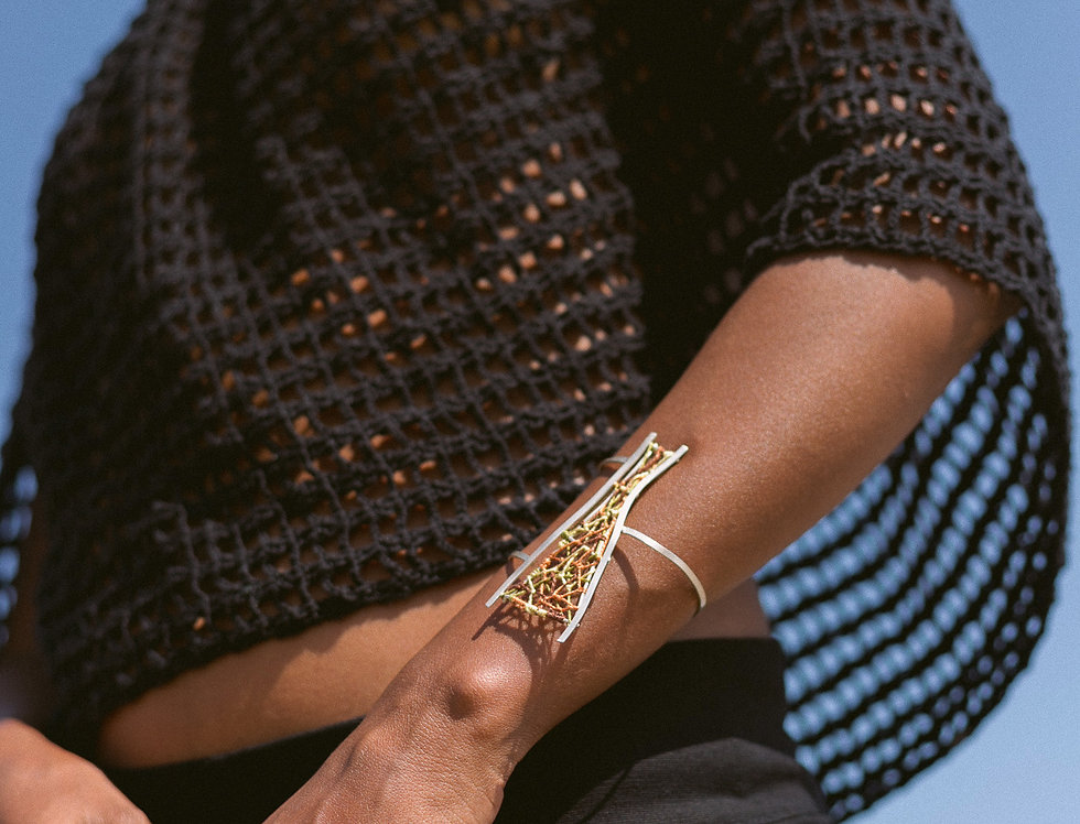 Bracelete  Agreste em Prata - Elemento fio - Aragem