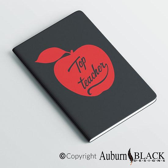 Top Teacher Apple... teacher notebook Vinyl Decal