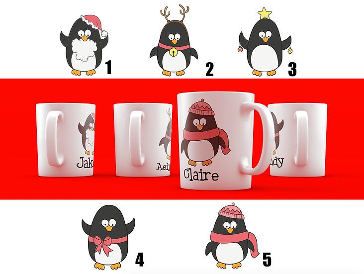 Personalised Penguin Christmas Mug Vinyl