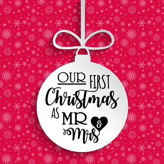 Our First Christmas as Mr and Mrs Heart Bauble Vinyl Decal