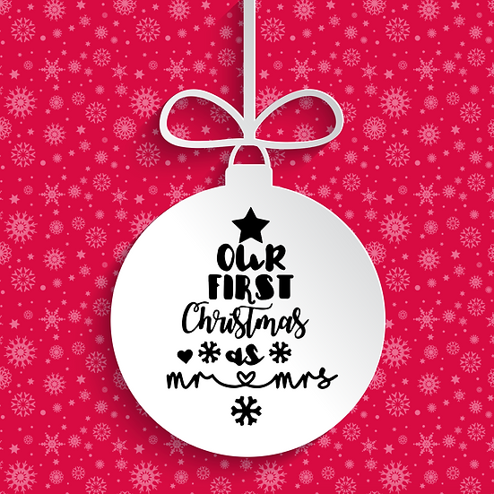 Our First Christmas as Mr and Mrs Bauble Vinyl Decal