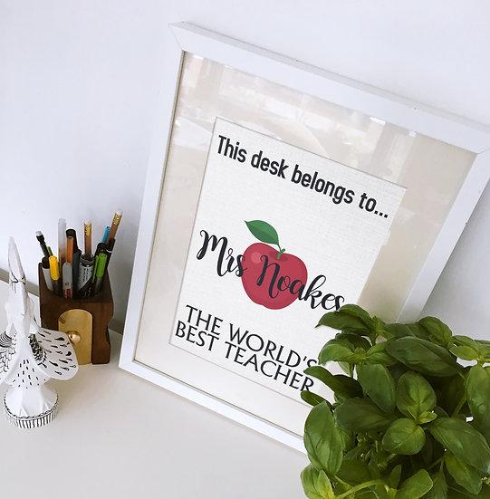 Personalised This desk belongs to Print