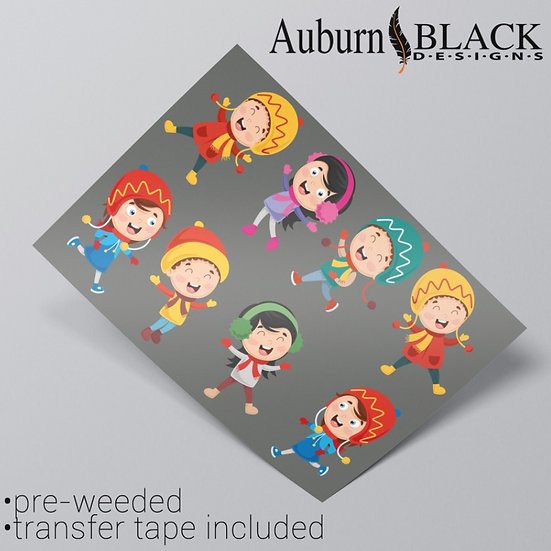 Winter Children Christmas Stickers