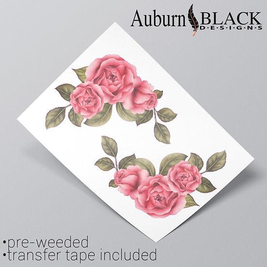 Blush pink rose floral corner vinyl sticker ornaments