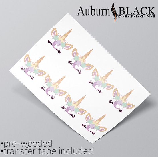 Pastel Unicorn Glitter Effect Vinyl Stickers