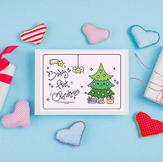 A4 Christmas Box Sticker - Baby's 1st Christmas