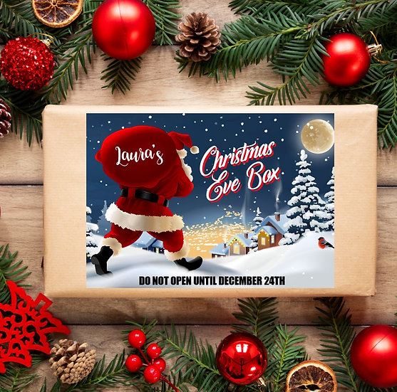 Full colour Personalised Christmas Eve box sticker