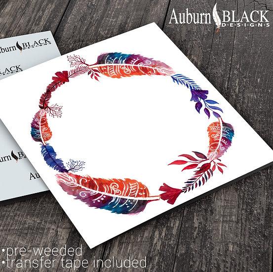 Bohemian Feather Wreath Frame vinyl decal sticker