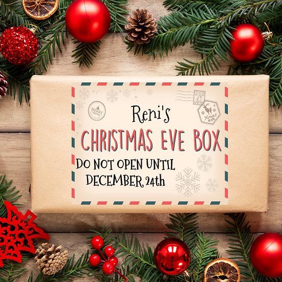 A4 Christmas Box Sticker - Classic Design
