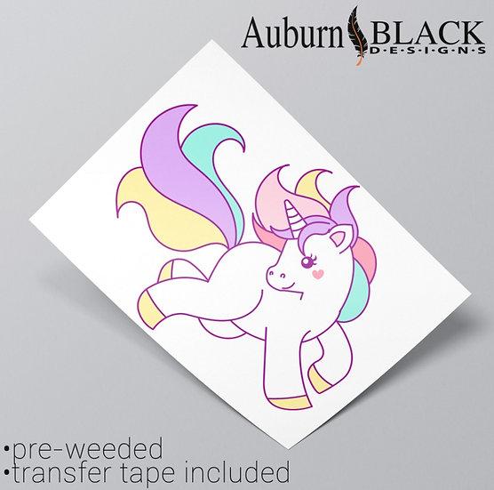A4 Pastel Unicorn Posing Vinyl Sticker