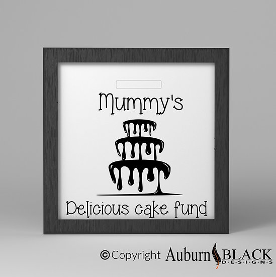 Mummy's Delicious Cake Fund frame vinyl decal