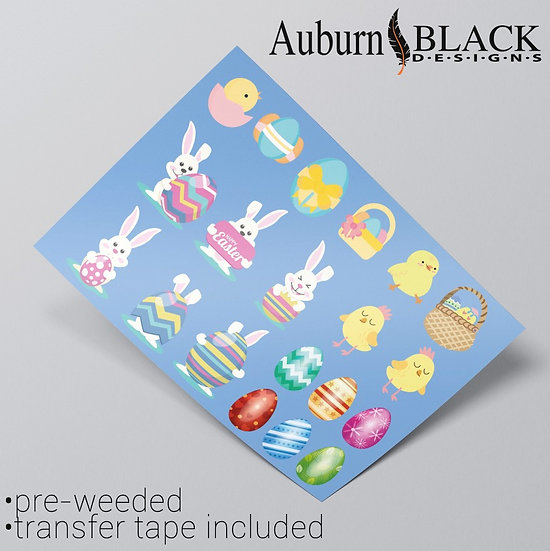 Easter Bunny and Egg Vinyl Sticker Decals