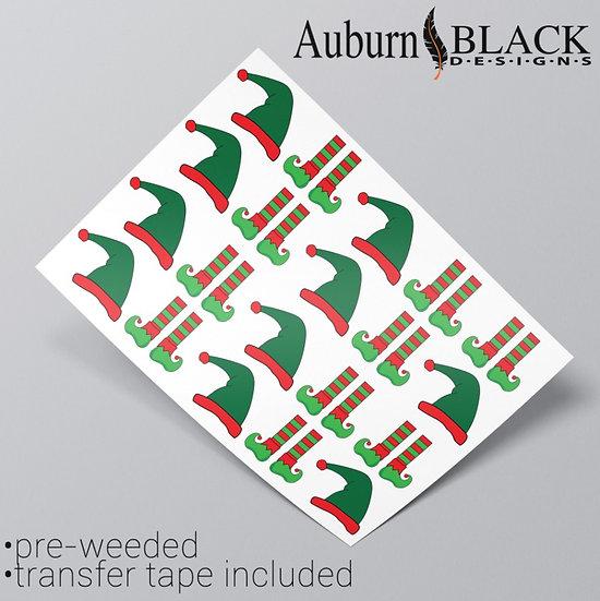 Elf Hats and Socks Vinyl Stickers