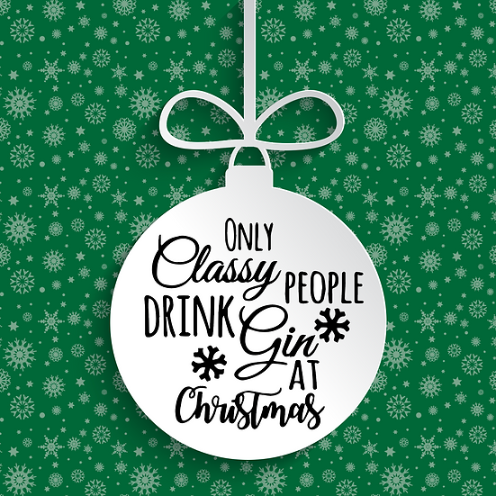 Only Classy People Drink Gin Bauble Vinyl Decal