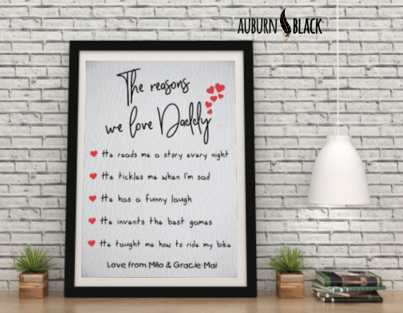 Father's Day Personalised Reasons Print