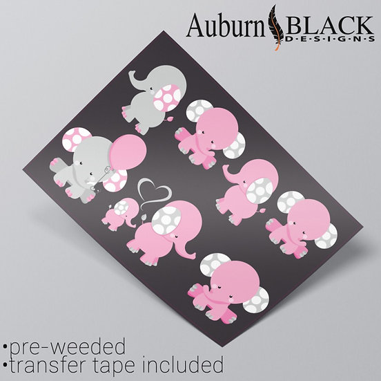Pastel Spotty Elephants Vinyl Stickers Pink
