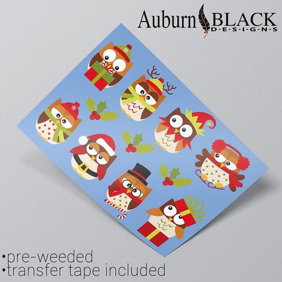 Christmas Owls Vinyl Stickers